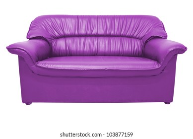 A Modern Purple Leather Sofa Isolated On The White With Clipping Path