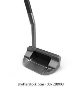 Modern putter golf club on white background.