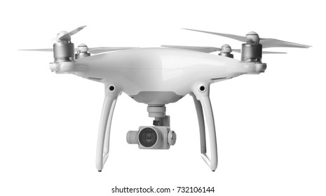 Modern quadcopter on white background