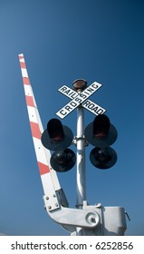 modern railroad crossing sign