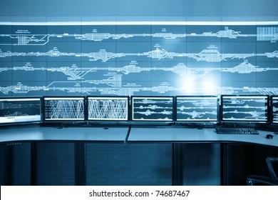 modern railway control room, electronic technology