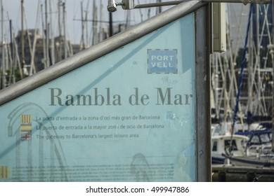 Modern Rambla de Mar at Port Vell Barcelona - BARCELONA / SPAIN - OCTOBER 5, 2016