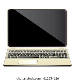 Modern realistic and detailed laptop isolated on white.  illustration.