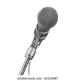 A modern recording microphone isolated on white with copy space.
