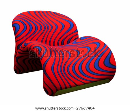 Astounding Modern Red Armchair Blue Stripes Isolated Stock Photo Edit Pdpeps Interior Chair Design Pdpepsorg