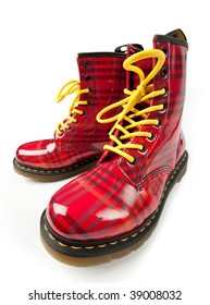 Modern red army boots, isolated on white with clipping path