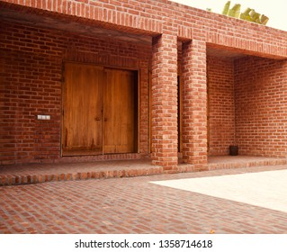 A modern red bricks building isolated unique photo