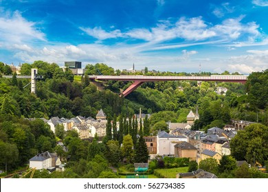 Modern Red bridge in Luxembourg a beautiful summer day, Luxembourg