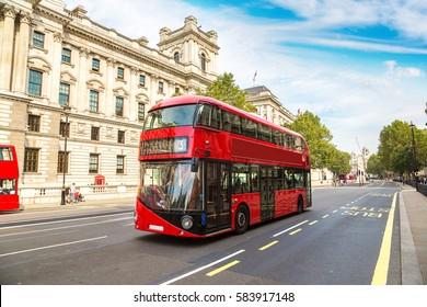 Modern red double decker bus, London, England, United Kingdom