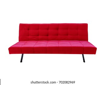 Modern red fabric sofa, isolated on white background with clipping path.