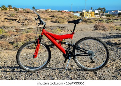 Modern Red Full Suspension Mountain Bike MTB Bicycle