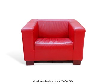 Modern red leather armchair over white background