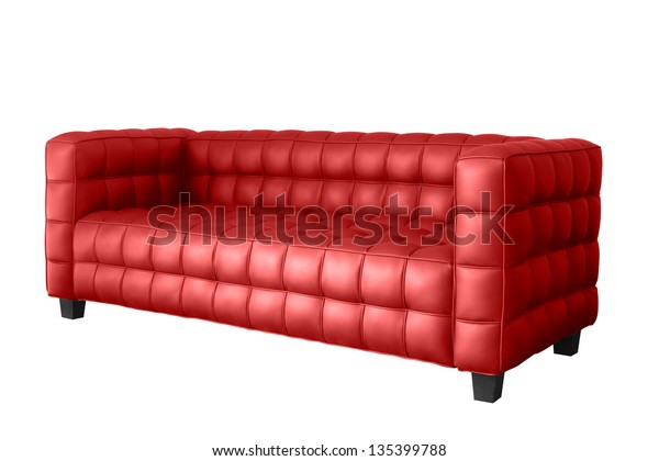 Modern Red Leather Sofa Isolated On Stock Photo (Edit Now ...