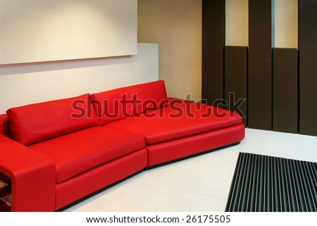 Modern Red Leather Sofa Living Room Stock Photo (Edit Now ...