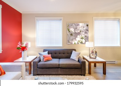 Modern red living room interior design with sofa, armchair, and two side tables