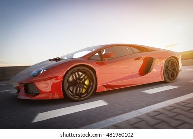 Modern red metallic sports car driving fast on the road. Generic desing, brandless. 3D rendering.