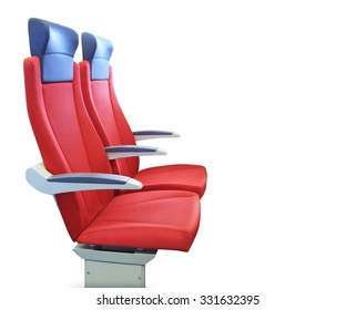 Modern red passenger chair isolated over white