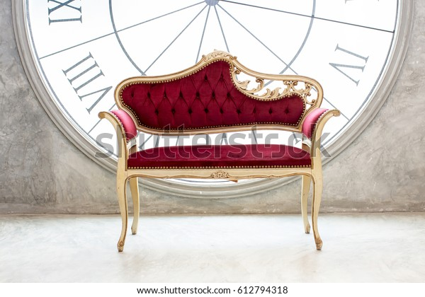 Modern Red Sofa Contemporary Style Vintage Stock Photo (Edit ...
