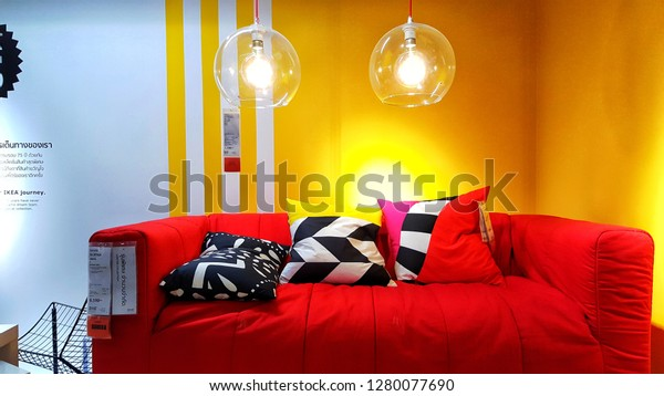 Modern Red Sofa Many Pillows Display Stock Photo Edit Now 1280077690