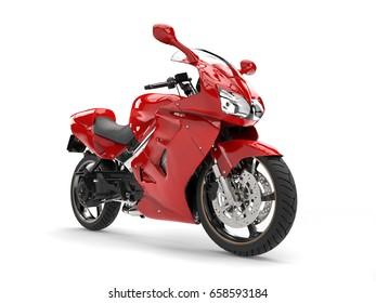 Modern red super sports bike - 3D Illustration