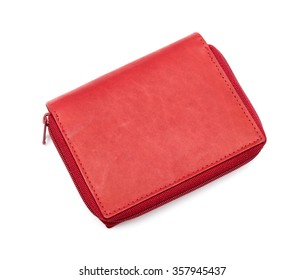 Modern red wallet isolated on white background