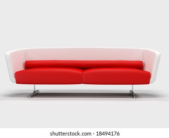 modern red and white sofa isolated