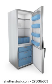modern refrigerator with open doors on a white background