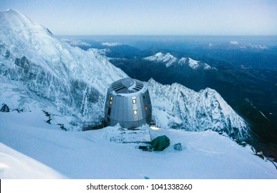 Modern refuge in the French Alps. Location Refuge du Gouter (3835 m), Mont Blanc, France. Scenic image of hiking concept.