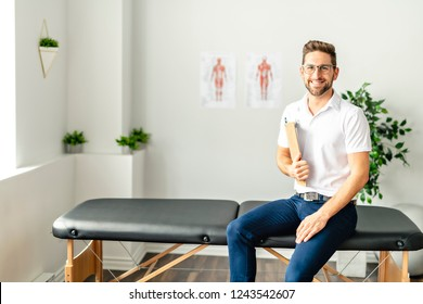 A Modern rehabilitation physiotherapy man at work