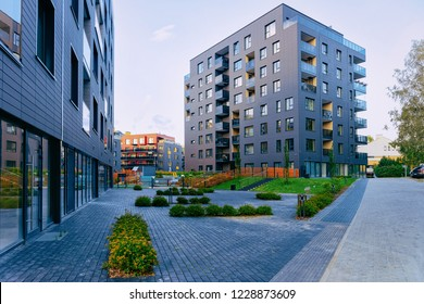 Modern residential apartment house complex, outdoor facilities concept.
