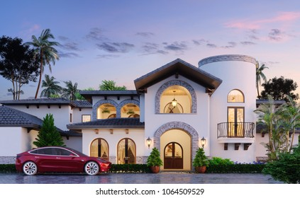 Modern residential building in oriental style. Eastern architecture. Eastern private house. Electro car and private villa. Arabian design. Eastern residence. 3d illustration