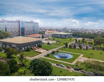 Modern residential buildings in Accra, capital of Ghana. Modern view. Suburb lifestyle in developing countries. Beautiful urban landscape. Top view. Wonderful houses and green areas