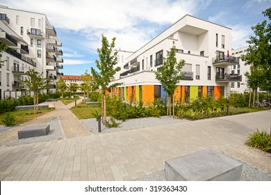 Modern residential buildings, Facade of new townhouses