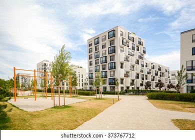 Modern residential buildings with outdoor facilities and children's playground, Facade of new apartment house