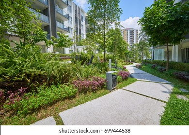 Modern residential buildings with outdoor facilities,green, Facade of new low-energy houses