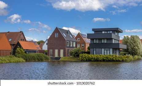 Modern residential design houses at the waterfront in suburb of Ypenburg The Hague Netherlands