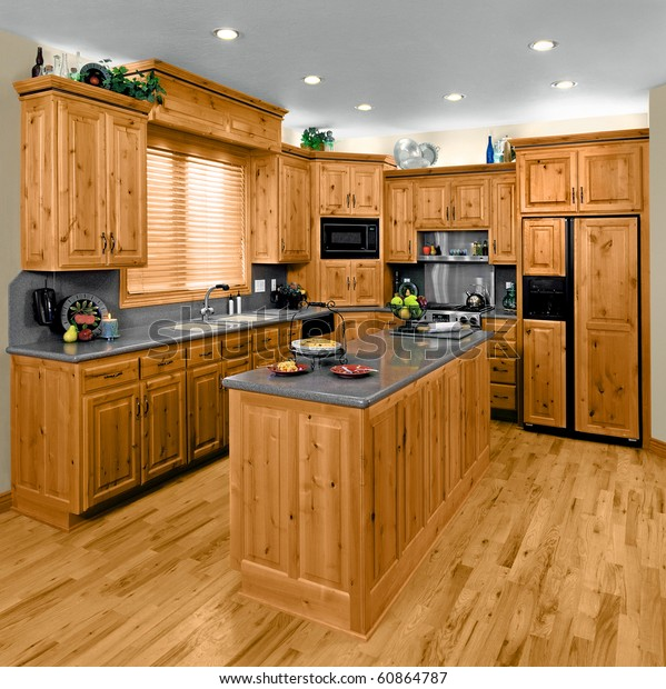 Modern Residential Kitchen Hickory Cabinets Stock Photo