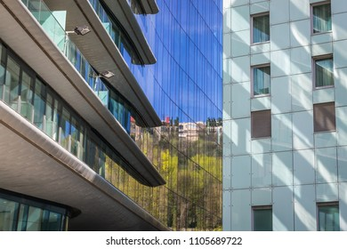 Modern residential and office building on the bank of Danube River in Bratislava, Slovakia