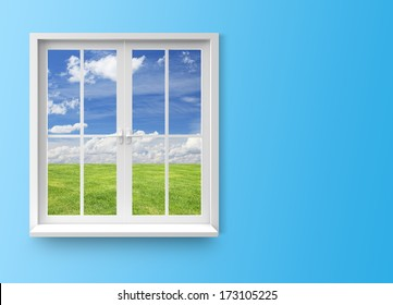 Modern residential window with lake view on blue background