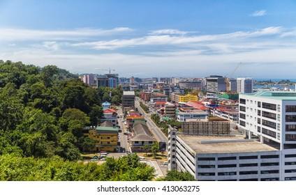 modern resort town bordering the jungle. Malaysia