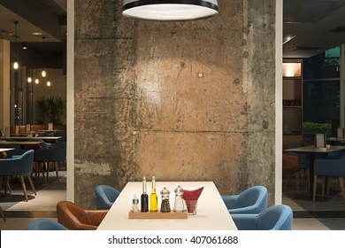 Modern restaurant interior with concrete wall