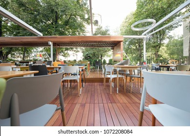 Modern restaurant terrace in the summer
