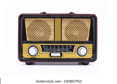 Modern retro radio isolated on white background
