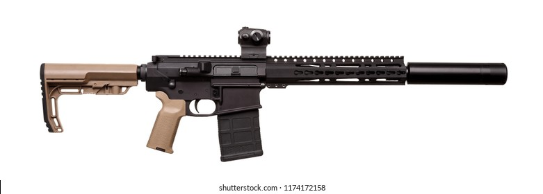 Modern rifle with an optical sight isolated on white background