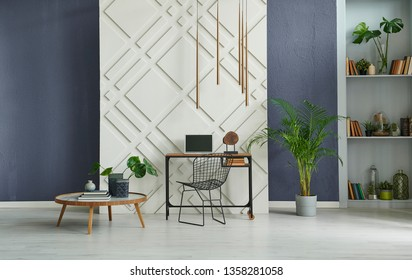 Modern room, decorative background, stone wall blue decoration, working and study table, middle table, vase of plant and grey bookshelf style.
