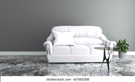 Modern room interior with sofa on black wall .3d rendering