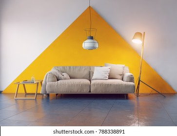 modern room interior. sofa and wall. 3d rendering concept
