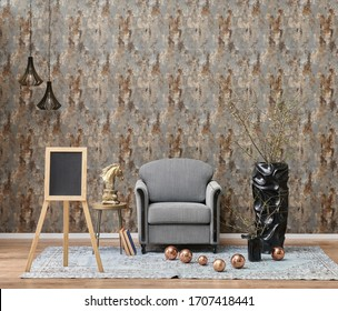 modern room interior style with grey armchair, clock lamp and carpet style.