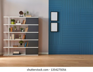 Modern room wall background, white and blue concept, decorative blue room, home object, armchair lamp and frame decor. Bookshelf in the wall, parquet floor.