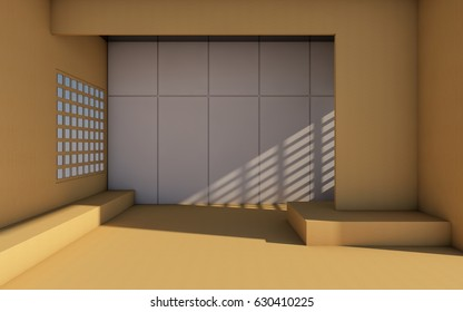 Modern Room and wall Contemporary style design for Home / 3d rendering